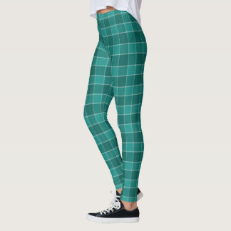 teal and turquoise checkered plaid leggings