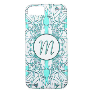 Teal and Turquoise Monogrammed iPhone 8/7 Case