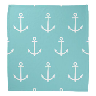 Teal and White Anchors Pattern 1 Do-rag