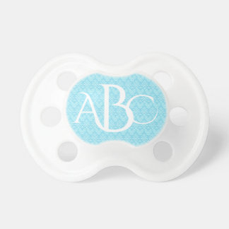 Teal and White Boho Pattern Monogram Pacifier