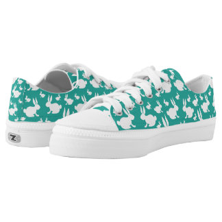 Teal and White Bunny Rabbit Sneakers