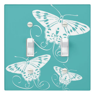 Teal And White Butterfly | Light Switch Cover