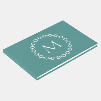 Teal and White Chain Link Ring Circle Monogram Guest Book
