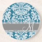 Teal and White Chalkboard Damask Pattern Coaster
