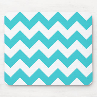 Teal and White Chevron Mouse Pad