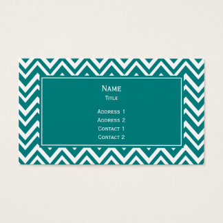 Teal and White Chevron Pattern Business Card