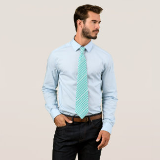 Teal And White Chevron Striped Pattern Tie