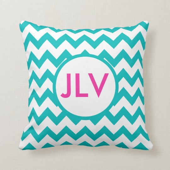 Teal and White Chevrons with Monogram Throw Pillow