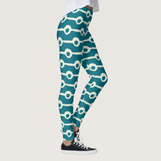Teal and White Circles and Lines Abstract Leggings