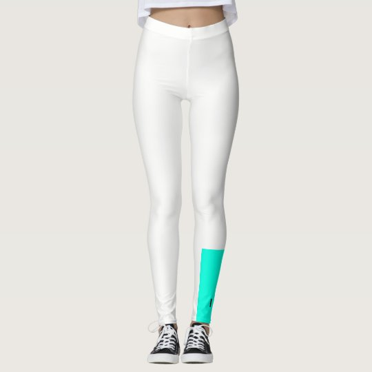 Teal and white colour block leggings