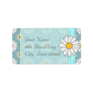 Teal and White DaisyFloral Wedding Address Lables Label