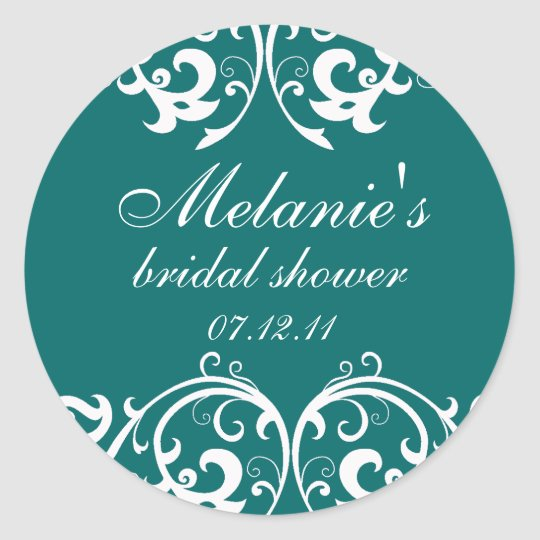 Teal and White Damask Bridal Shower Sticker