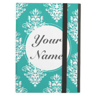 Teal and White Damask Cover For iPad Air