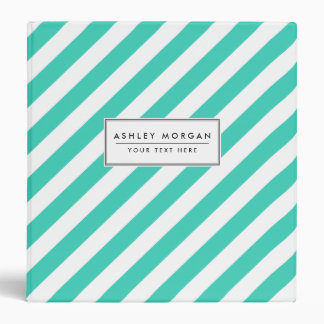 Teal and White Diagonal Stripes Pattern 3 Ring Binders