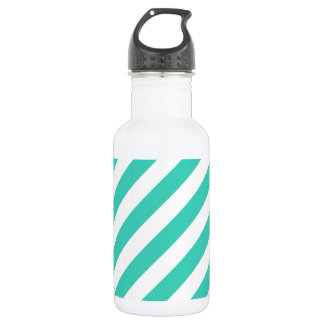 Teal and White Diagonal Stripes Pattern 532 Ml Water Bottle