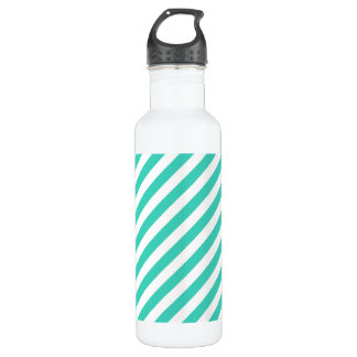Teal and White Diagonal Stripes Pattern 710 Ml Water Bottle