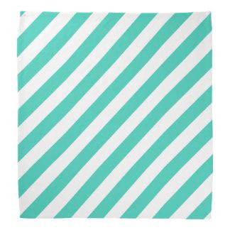 Teal and White Diagonal Stripes Pattern Bandana