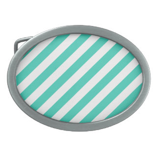 Teal and White Diagonal Stripes Pattern Belt Buckle