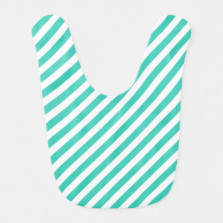 Teal and White Diagonal Stripes Pattern Bib