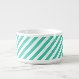 Teal and White Diagonal Stripes Pattern Bowl
