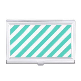 Teal and White Diagonal Stripes Pattern Business Card Case