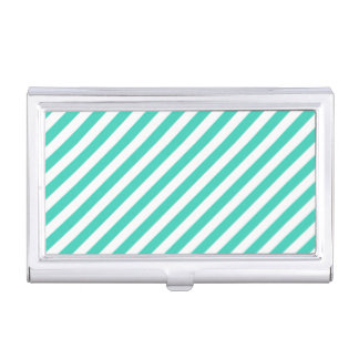 Teal and White Diagonal Stripes Pattern Business Card Holders