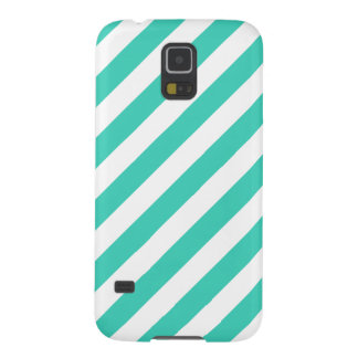 Teal and White Diagonal Stripes Pattern Cases For Galaxy S5