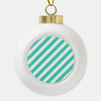 Teal and White Diagonal Stripes Pattern Ceramic Ball Ornament