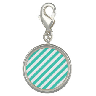 Teal and White Diagonal Stripes Pattern Charms