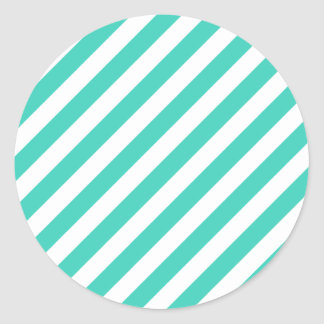 Teal and White Diagonal Stripes Pattern Classic Round Sticker