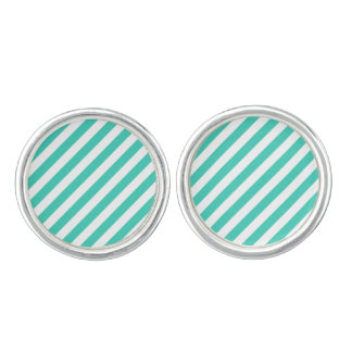 Teal and White Diagonal Stripes Pattern Cufflinks
