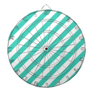 Teal and White Diagonal Stripes Pattern Dartboard