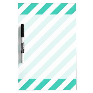 Teal and White Diagonal Stripes Pattern Dry Erase Board