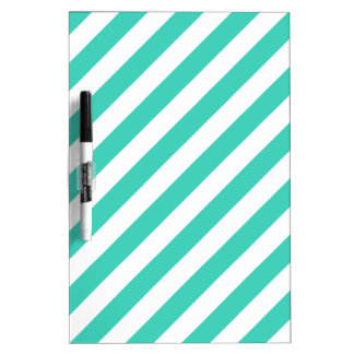 Teal and White Diagonal Stripes Pattern Dry Erase Board