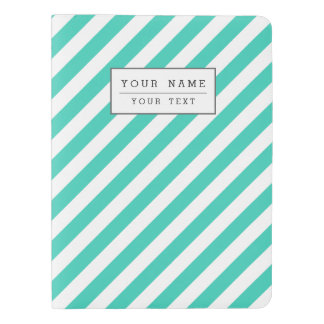 Teal and White Diagonal Stripes Pattern Extra Large Moleskine Notebook