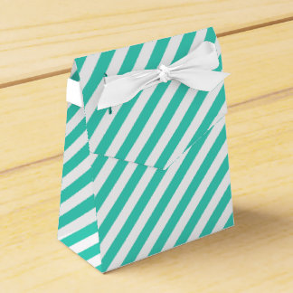 Teal and White Diagonal Stripes Pattern Favor Boxes