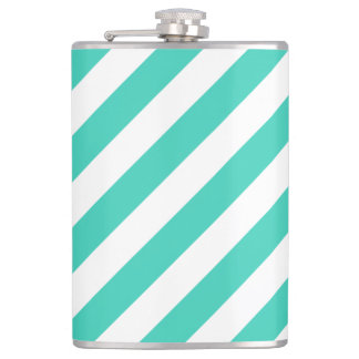Teal and White Diagonal Stripes Pattern Flask