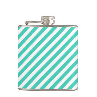 Teal and White Diagonal Stripes Pattern Flasks