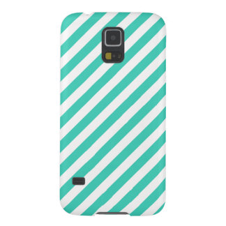 Teal and White Diagonal Stripes Pattern Galaxy S5 Case