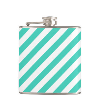 Teal and White Diagonal Stripes Pattern Hip Flask