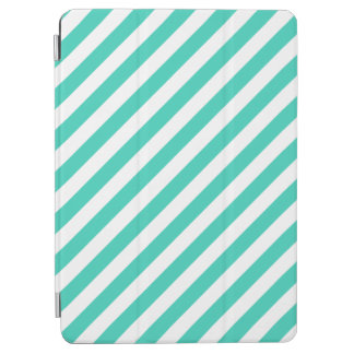 Teal and White Diagonal Stripes Pattern iPad Air Cover