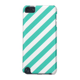 Teal and White Diagonal Stripes Pattern iPod Touch 5G Cover