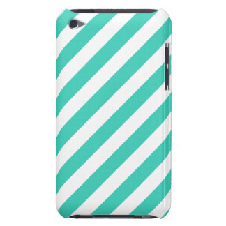 Teal and White Diagonal Stripes Pattern iPod Touch Cover