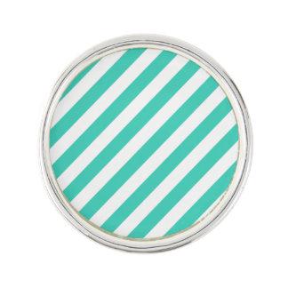 Teal and White Diagonal Stripes Pattern Lapel Pin