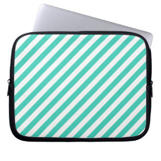 Teal and White Diagonal Stripes Pattern Laptop Sleeves