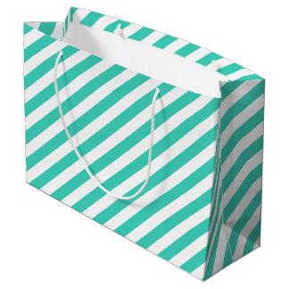 Teal and White Diagonal Stripes Pattern Large Gift Bag