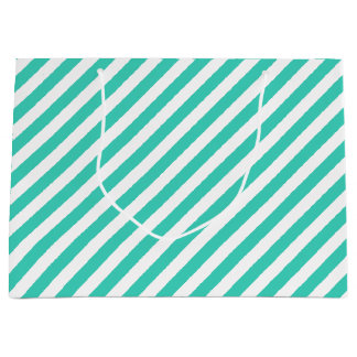 Teal and White Diagonal Stripes Pattern Large Gift Bag