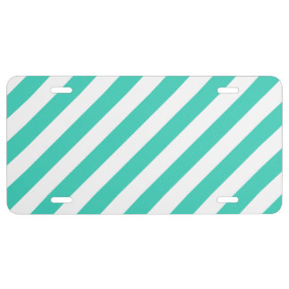 Teal and White Diagonal Stripes Pattern License Plate