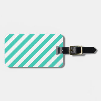 Teal and White Diagonal Stripes Pattern Luggage Tag
