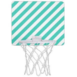 Teal and White Diagonal Stripes Pattern Mini Basketball Hoop